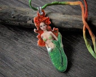 Mermaid - fused glass pendant- unique art cab - focal cab