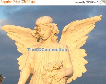 Valentines Day Sale Digital Photograph, Angel on High, Heaven, Angelic, Galveston Episcopal Cemetery Tomb Stone, Photograph by TheIDConnecti