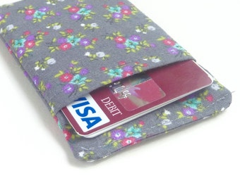 grey card sleeve. small floral fabric women credit card holder. cash and business card holder. small gift slate