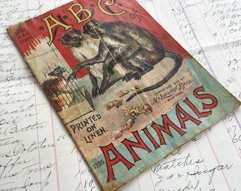 Children's Cloth Book Vintage ABC Animals Victorian