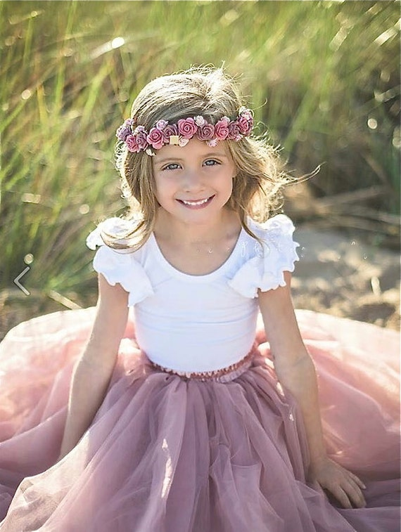 Girls Dusty Rose Tutu Rose Pink Tulle Skirt Mauve Pink