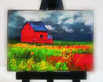 The red barn, Easel and art set, 2.50 x 3.50 inches, Miniature art, #Gifts under 20 #Barns #Barn photograph #farm house chic #red barn art