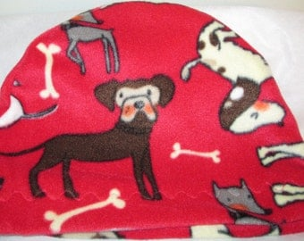 Kids Child Cancer, Chemo Hat Dogs Print  Anti Pill Fleece, Play, Sleep Cap