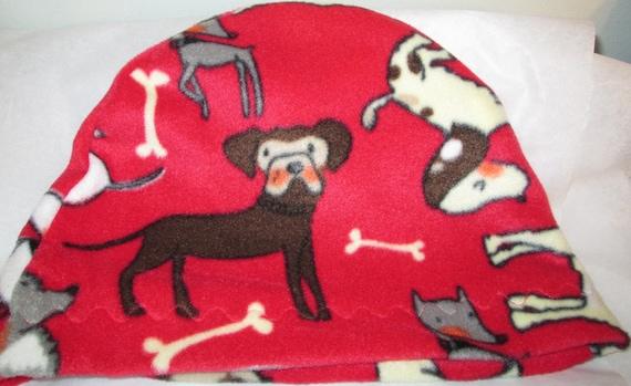 Kids Child Cancer, Chemo Hat Dogs Print  Anti Pill Fleece, Play, Sleep Cap