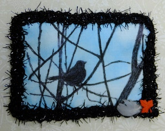 Tiny Art Quilt ATC Shilouette of a Small Bird in a Tree