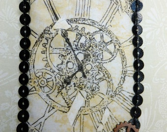 Tiny Art Quilt ATC Original Steampunk Art with a Clock Gear Embellishment