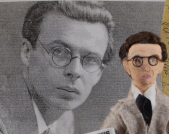Aldous Huxley Doll Art Miniature Author and Writer