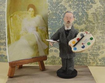 John Singer Sargent Artist Painter Doll Miniature Diorama Edwardian Era Collectible