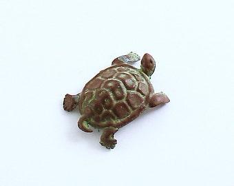Vintage Metal Turtle Figurine Miniature Bonsai Figurine