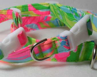 Handcrafted Lilly Pulitzer So A Peeling Print Fabric Dog Collar- All Sizes- Free Shipping