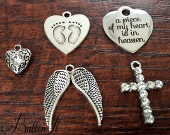 ADD a SYMPATHY charm on to an item purchased from ButtonIt REMEMBRANCE, Angel wings, cross charm, a piece of my heart is in heaven charm