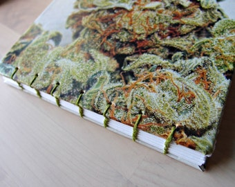Weed Journal, Cannabis diary, notebook, coptic bound book, blank book