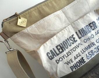 Vtg military canvas lumber apron tote bag, carryall, crossbody - Doylestown Ohio - eco vintage fabrics