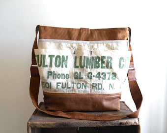 Lumber apron canvas leather tote, carryall bag - Fulton Lumber Co. Canton Ohio - eco vintage fabrics
