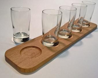 Beer Flight and Glassware (Sampler, Taster, Plank) - White Oak with 5 Glasses