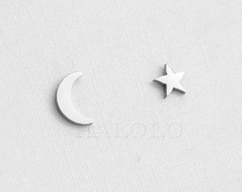 Crescent Moon and Star Stainless Steel Earring Post Finding EX071A