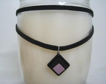 Black Velvet Choker & Lilac and Black Handmade Dichroic Pendant