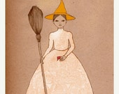 CHRISTMAS SALE Halloween Art  Witch Girl, Deluxe Edition Print of original drawing