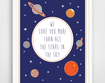 We Love You More Than All The Stars in the Sky, Navy Nursery Art, Print