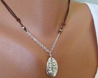 Adjustable Length Handcrafted Natural Fern Necklace, Silver