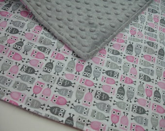 Owl Medley Pink and Gray Minky Burp Cloth 14 x 16 READY TO SHIP