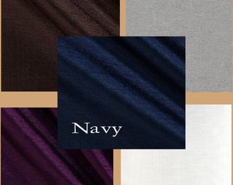 Faux Silk Dupioni Table Cloth in Silver, Navy, Plum, Winter White, Chocolate
