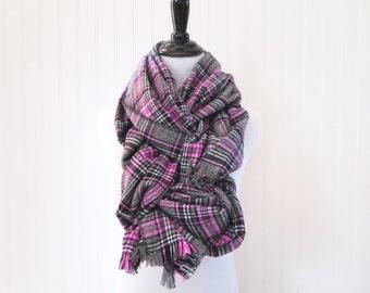 Oversized Scarf - Plaid Scarf Flannel - Gray Plaid Scarf - Pink Plaid Scarf - Women's Scarf - Winter Scarf - Warm Scarf - Plaid Scarf