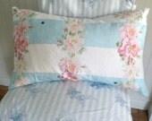Rosewitha Stripe Cottage Pillow in aqua stripe