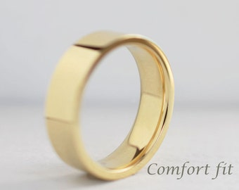 6mm or 7mm Comfort Fit Band| Men's Gold Wedding Band | Flat Comfort Fit Sustainable Recycled Gold | Heavy Wedding Band 10k 14k 18k Gold Ring