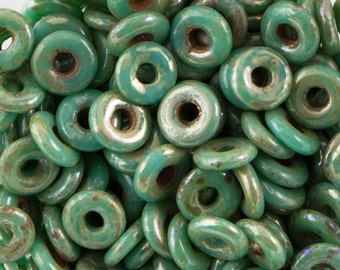 Jade Picasso Czech O Bead 3.8x1mm 8.1gm Tube OB2463140-43400-TB