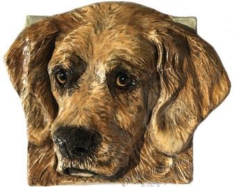 Golden Retriever Dog Tile CERAMIC Portrait Sculpture 3d Art Tile Plaque FUNCTIONAL ART by Sondra Alexander In Stock