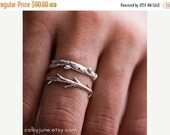 Valentines Day Sale Silver Branch Ring & Twig Ring Set | Stacking Rings | Nature Inspired Rings