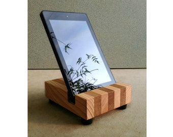 Wood Tablet Stand, Universal, In Recycled Cedar Wood