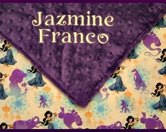 Personalized Girl Blanket~Baby Girl Blankets~Disney Jasmine Nursery~Aladdin Princess Bedding~Crib Lovey~Shower Gift~