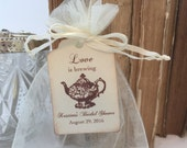 Tea Party Favor Set Muslin Bags, Small Teapot Tags and Organza Bags Set of 10 Personalized Bridal Shower