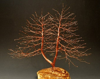 Hand Twisted Metal Copper Wire Tree Art Sculpture - 2188 - FREE SHIPPING