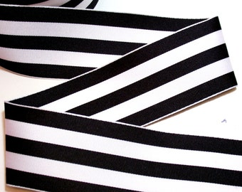 Wired Ribbon, Black and White Stripe Grosgrain Wired Fabric Ribbon 2 1/2 inches wide x 5 yards, Offray Mono Stripe Ribbon