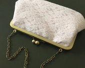 White and Blush Cotton Lace Flower Clutch with Antique Brass Frame and Chain