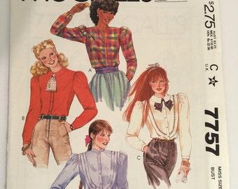 McCall's 7757 Vintage Blouse Pattern Size12 UNCUT