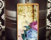 60% OFF CLEARANCE Floral Bloom Bamboo Tile Pendant (BRN103)