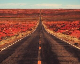 Landscape photography, southwest USA, Utah highway, Monument Valley Utah, horizon, vanishing point, roadtrip, desert, blacktop,  RV, west