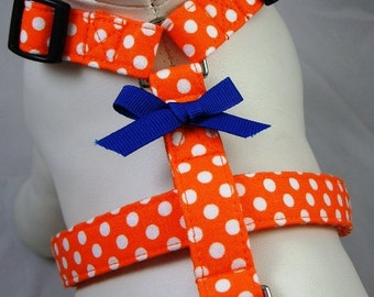 Dog Harness - Orange Polka Dot