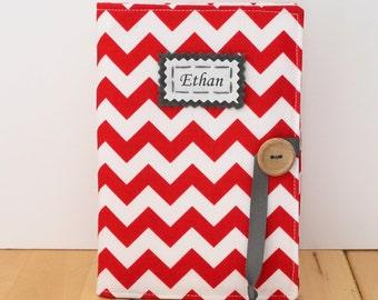red and white chevron personalized photo album brag book grandma gift
