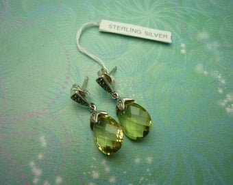 Vintage Sterling Silver Earrings - Faceted Citrine