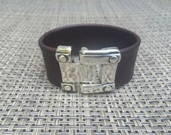 Dark Brown Large Leather Bracelet