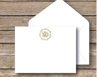 Personalized monogrammed flat notecards, monogram Stationery, Vine monogram with wreath, couples stationery, set of 10 with white envelopes