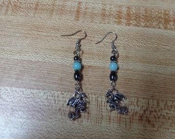 Dragon Dangle Earrings with gemstone