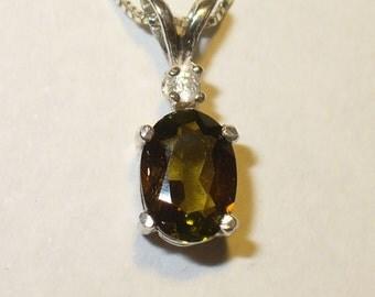 Tourmaline Pendant Necklace in Sterling Silver - Genuine Natural Bi-color Gem