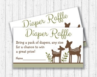 Cute Deer Diaper Raffle Tickets / Deer Baby Shower / Woodland Baby Shower / Gender Neutral / Printable INSTANT DOWNLOAD