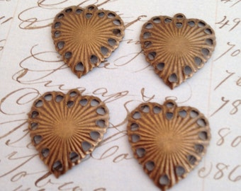 Antiqued brass ox lace edge heart charms (12)